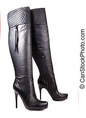 Black high heel women boots
