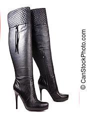 negro, alto, tacón, mujeres, botas