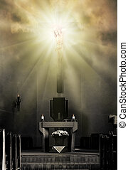 The light - Jesus Christ on the cross in bright light