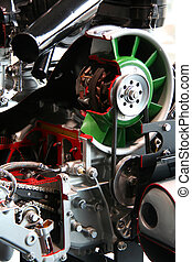 car engine - details of a powerful racing car engine