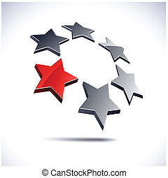 Abstract 3d icon. - Abstract modern 3d stars logo. Vector.