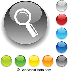 Searching button. - Searching shiny button. Vector...