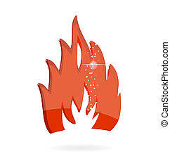 glass and clear red fire symbol isolated