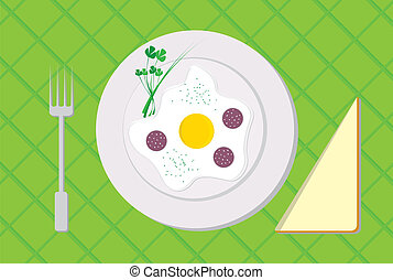 breakfast - Plate with scrambled eggs for breakfast