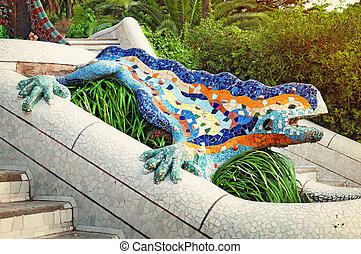 Guell,  -, parque,  Barcelona, lagarto, fuente, españa