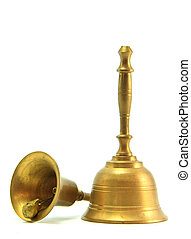Golden Handbell - golden hand bell Isolated on White