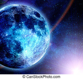 beautiful glowinf blue planet in space