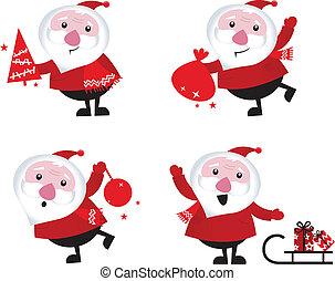 Cute cartoon Santa Claus set isolated on white Cute cartoon Sant