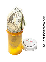 Cost of drugs - Prescription pill bottle with $20 bills...