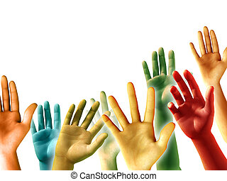 Raised Hands - Multi-colored raised hands on white...