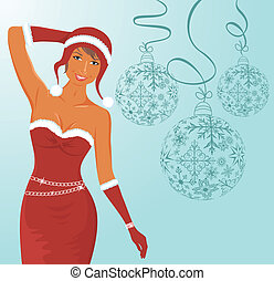 christmas background with sexy lady and balls - Illustration...