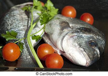 Wellness and diet Fresh fish - Italian food Wellness food...