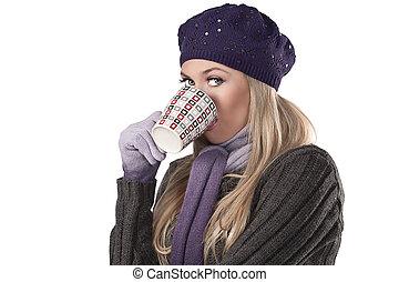 fashion winter girl in purple wool