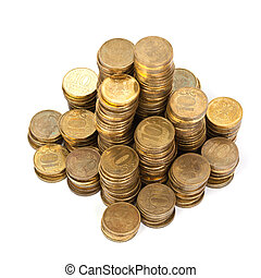 Stack of golden coins from top view on white background