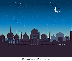 islamic skyline - an illustration of an exotic islamic...