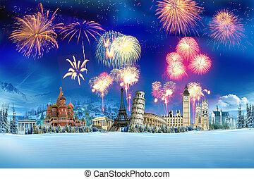 podróż, -, nowy, rok, Dookoła, Świat
