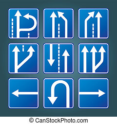 Blue direction traffic signs