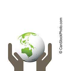 Ecology green planet vector concept