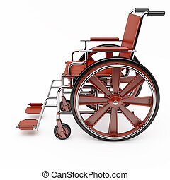 Red wheelchair on a light background