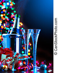 Art New Year party2jpg - glasses of champagne, Christmas...