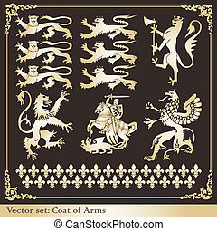 Silhouettes of heraldic lions vector background