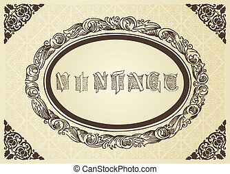 Abstract vintage frame and elements