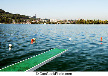 Annecy lake and diving board - View of Annecy city and...