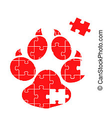 Animal track puzzle vector background
