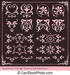 Vintage elements for frame or book cover, card vector