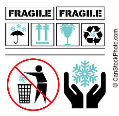 Snowflake fragile set vector