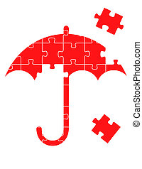 Red vector umbrella puzzle