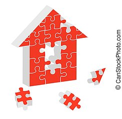 Red Puzzle Home vector
