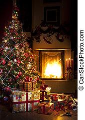 navidad, árbol, navidad, regalo