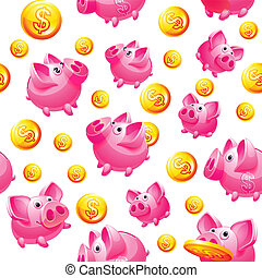 Piggy Bank and coins in white Seamless background