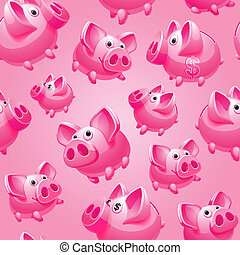 Piggy Bank on pink background, seamless