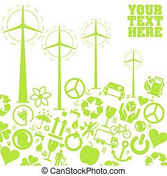 Green wind generator icons vectors