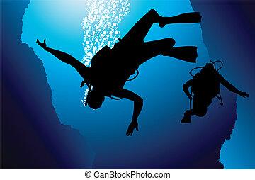 coloré, scaphandre, plongeur, vecteur