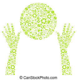 Hands holding green vector ecology