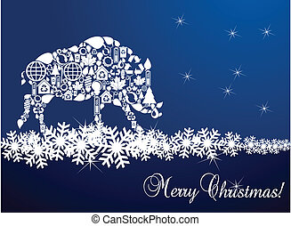Wild boar Christmas card - Wild boar vector