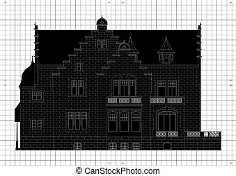 Vintage house architectural plan vector