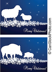 Christmas cards with sheeps
