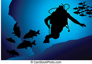 Colorful scuba diver vector illustration