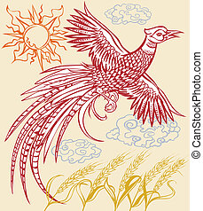 Pheasant Red - Asian-style art with a pheasant over a wheat...