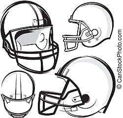 Football Helmets - A collection of football helmet clip art