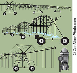 Irrigation Clip Art - Center pivot irrigation and pump clip...