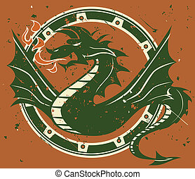 Dragon Emblem - Winged dragon and circle frame on terra...