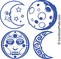 Blue Moons - A collection of four, blue moon symbols