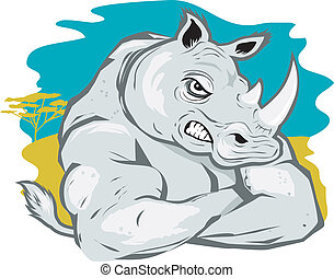 Rhino Tough - A cartoon rhino in a tough-guy pose