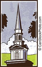 Grand Steeple - Vector art of a steeple from a local church
