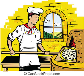 Pizza Chef - A chef baking a pizza in a stone oven
